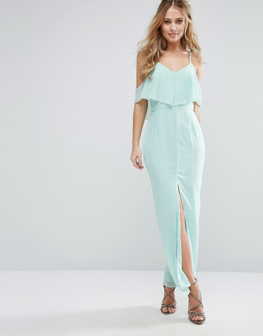 Elise Ryan Frill Maxi Dress With Split Front - Mint