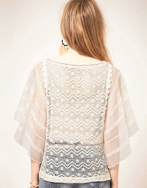 Image 2 ofFree People Lace Tunic Top with Chiffon Sleeve