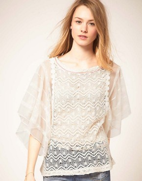 Image 1 ofFree People Lace Tunic Top with Chiffon Sleeve