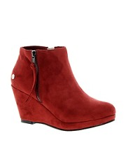 Blink Faux Suede Wedge Boot with Zip
