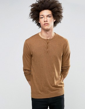 ASOS Grandad Neck Jumper in Orange Twist Cotton