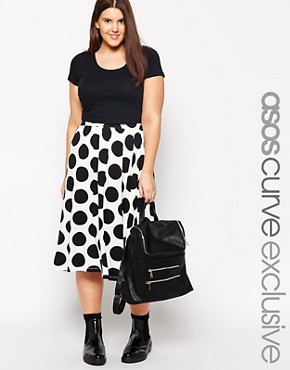 ASOS CURVE Full Midi Skirt in Polka Dot