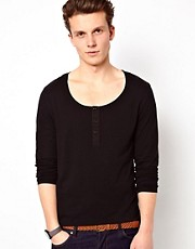 ASOS Long Sleeve Top With Scoop Grandad Neck