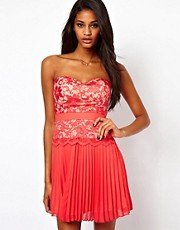 Elise Ryan Lace Bandeau Skater Dress with Pleated Skirt
