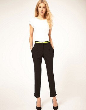 Image 1 ofASOS Belted Peg Trouser with Turn Up