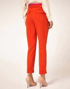 Image 2 ofASOS Belted Peg Trouser with Turn Up