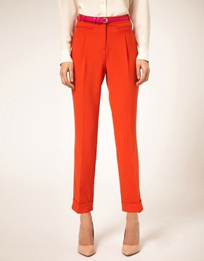 Image 4 ofASOS Belted Peg Trouser with Turn Up