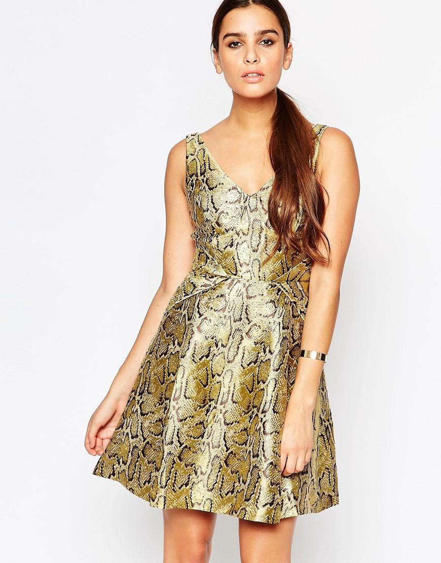 Adelyn Rae Gold Skater Dress - Gold
