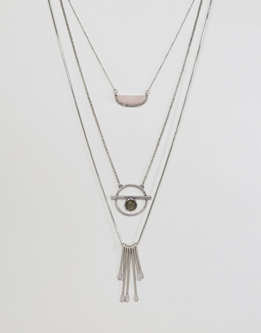 ASOS Long Multirow Festival Necklace - Silver