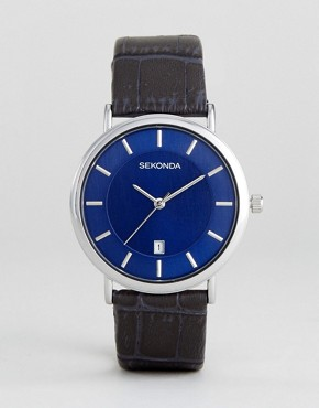 Sekonda Leather Watch In Navy Exclusive To ASOS