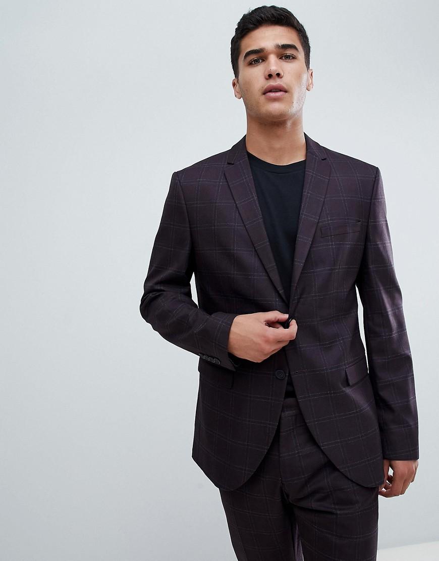 Приталенный пиджак в клетку с накладным карманом Selected Homme