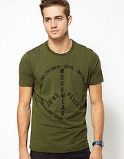 Diesel - T-Fritz - T-shirt con simbolo della pace