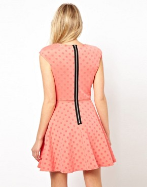 Image 2 ofLove Plunge Dress With Mesh Insert With Flock Spot