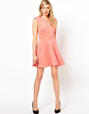 Image 4 ofLove Plunge Dress With Mesh Insert With Flock Spot