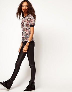 Image 4 ofASOS Top with Printed Sheer Band