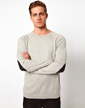 Image 1 ofASOS Crew Neck Jumper with Elbow Patches