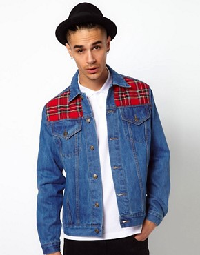 Image 1 ofReclaimed Vintage Denim Jacket with Tartan Panels