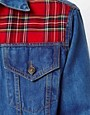 Image 3 ofReclaimed Vintage Denim Jacket with Tartan Panels