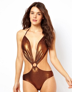 Image 1 ofBy Caprice Glam Cut Out One Piece Swimsuit