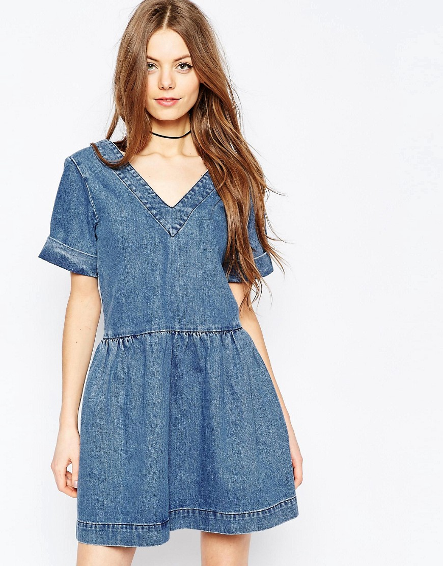 ASOS Denim Smock Dress In Mid-Wash Blue - Blue