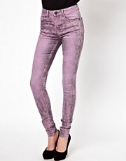 ASOS Ridley Supersoft High Waisted Ultra Skinny Jeans In Pink Marble Wash