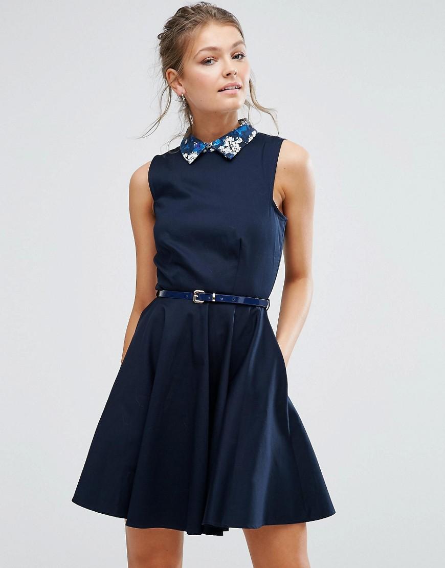 Closet Floral Contrast Collar Belted Skater Dress - Navy