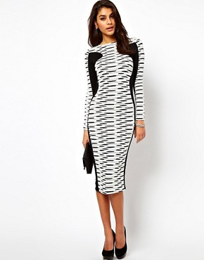 Image 1 ofASOS Midi Bodycon Dress In Stripe