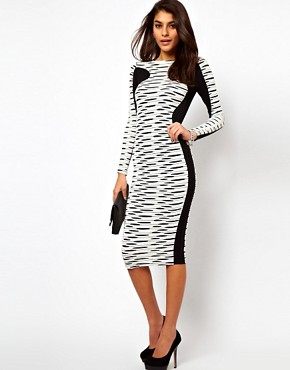 Image 4 ofASOS Midi Bodycon Dress In Stripe