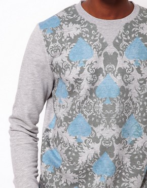 Image 3 ofASOS Sweatshirt With Double Layer Spade Print