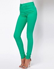 ASOS Ridley Supersoft High Waisted Ultra Skinny Jeans in Emerald Green