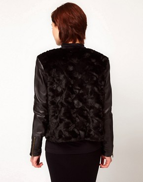 Image 2 ofFrench Connection Leather And Faux Fur Jacket