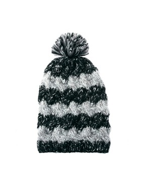 Image 2 ofASOS Mix Knit Cable Boyfriend Beanie With Pom