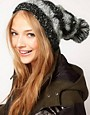 Image 1 ofASOS Mix Knit Cable Boyfriend Beanie With Pom