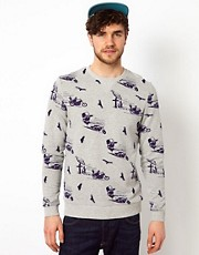 ASOS Sweatshirt With All Over Biker Print