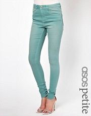ASOS PETITE - Ridley - Jeans ultra skinny a vita alta morbidissimi color verde angelo