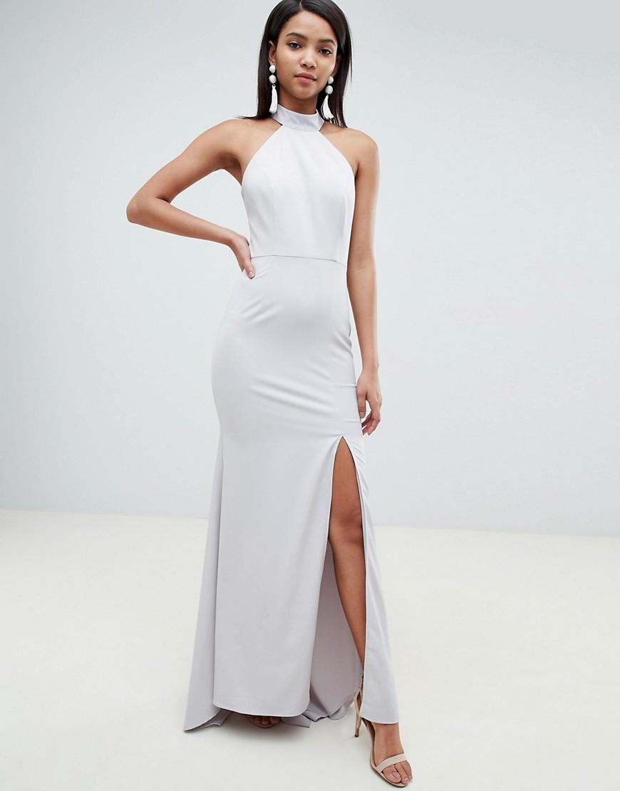 Imagen principal de producto de Vestido largo con cola, cuello subido y detalle de espalda abierta en gris de Jarlo - Jarlo