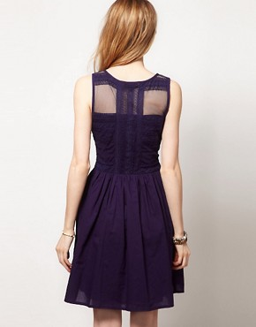Image 2 ofWarehouse Lace Panelled Skater Dress
