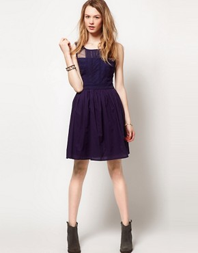 Image 4 ofWarehouse Lace Panelled Skater Dress