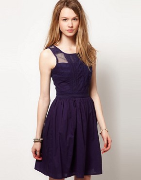 Image 1 ofWarehouse Lace Panelled Skater Dress