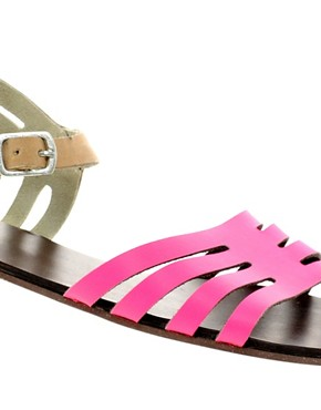 Image 2 ofASOS FIREWORK Leather Flat Sandals