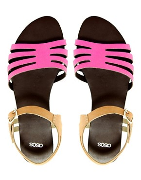 Image 3 ofASOS FIREWORK Leather Flat Sandals