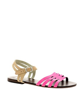 Image 1 ofASOS FIREWORK Leather Flat Sandals