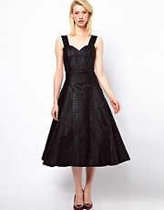 Antipodium Radial Dress In Metallic Black