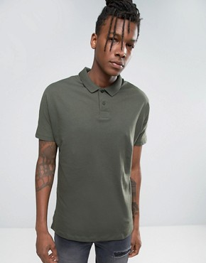ASOS Oversized Polo With Batwing Sleeves In Khaki