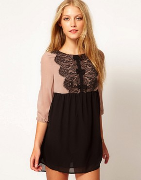 Image 1 ofDarling Chiffon Lace Babydoll Dress