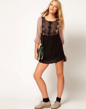 Image 4 ofDarling Chiffon Lace Babydoll Dress