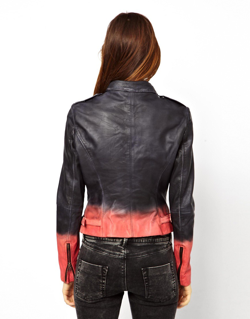 Image 2 ofMuubaa Tehmi Dyed Leather Biker Jacket