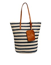 Pieces Gatu Woven Tote Striped Bag