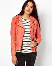 Doma Leather Biker Jacket with Studded Shoulders