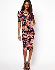 Oh My Love Midi Body-Conscious Dress in Floral Print